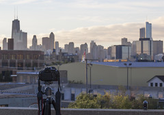 Time-lapse Setup (John Hill Photography) Tags: roof sky cloud sun chicago tower rooftop skyline clouds sunrise canon john timelapse time sears garage parking hill l hancock trump 70200 f4 willis lapse 70200mm redring 60d