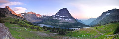 Hidden Lake Panorama (David Shield Photography) Tags: longexposure light sunset panorama lake mountains color landscape montana glaciernationalpark hiddenlake bearhatmountain davidshieldphotography
