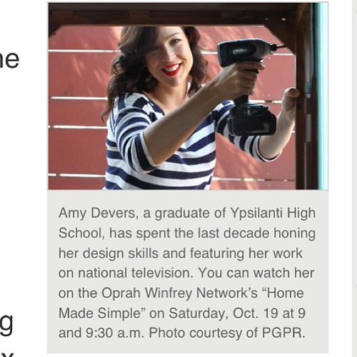 Nice interview in the Ypsilanti Courier, read it at my FB page Facebook.com/AmyDeversArtandDesign #homemadesimple premieres Sat. Oct. 19, 9 & 9:30am on @owntv