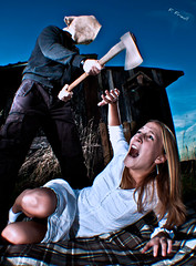 Axe Murder (Florian F. (Flowtography)) Tags: portrait hot sexy halloween girl canon action creepy axe murder sceam eos500d flowtography flowtastic