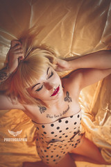 Golden Dreams. (AMY Photographie) Tags: red portrait woman france cute girl beautiful tattoo canon hair french eos gold bed sweet dream silk lingerie lips blond 7d boudoir 24mm piercings valenciennes