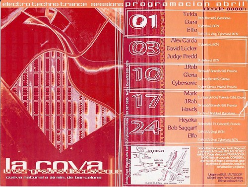 "Patrice Heyoka - Flyer 24/04/1999 - @ La Cova (Barcelone) <a style=""margin-left:10px; font-size:0.8em;"" href=""http://www.flickr.com/photos/110110699@N03/12210660975/"" target=""_blank"">@flickr</a>"