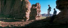 Dudes in Monument Valley (flippers) Tags: vacation arizona usa mountain holiday mountains film mike rock america 35mm unitedstates desert horizon wide roadtrip panoramic peter pete swinglens navajo monumentvalley boob horizonperfekt oljatomonumentvalley istsébii'ndzisgaii