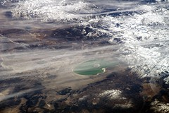 Mono Lake (sjrankin) Tags: california lake snow mountains northerncalifornia clouds edited nasa bodie monolake sierranevada iss greatbasin leevining iss038 1march2014 iss038e54536