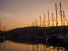 (Dan Parrish) Tags: uk sunset sea england orange reflection water boat devon mast brixham uploaded:by=flickrmobile flickriosapp:filter=nofilter