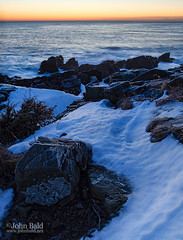 Before Daybreak, Ogunquit, Maine (20858-20861) (John Bald) Tags: ocean winter snow sunrise dawn coast rocks frost hoarfrost maine shore predawn daybreak ogunquit marginalway