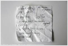 Shopping list (front) | Boodschappenlijstje (voorzijde) #324 (Dit is Suzanne) Tags: 18052013 img8384 ©ditissuzanne canoneos40d sigma18250mm13563hsm boodschappenlijstje shoppinglist img8395 2pakjesgekootebruinerijst250elk 1stengelbleekselderij zoutarmesojasaus 175gokra 2paprika koffie gemalenpigment komijnzaad citroen 12versebasilcum vloeibarehoning venkelzaad списокпокупок views200