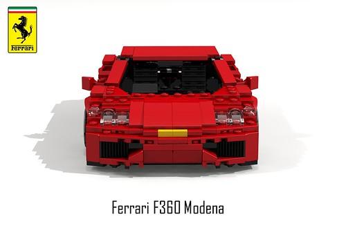 Ferrari F360 Modena Berlinetta (lego911) Tags: auto italy sports car model italian lego render 360 ferrari 1999 modena 78 coupe challenge v8 cad sportscar lugnuts povray moc f360 berlinetta ldd miniland placeseveryone lego911