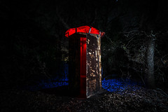 When you gotta go. (GnarlyRelics) Tags: longexposure blue trees light red lightpainting leaves night forest john dark bathroom dallas scary woods nikon texas fort tx toilet eerie creepy tokina spooky worth dfw scared outhouse fortworth d7100 1116mm