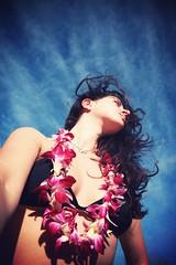 Those sweet sounds of silence till morning light (WhishingOnAsTar!) Tags: sea sun flower beach girl hawaii oahu lei shore northshore honolulu kapogloufebruaryportfolio