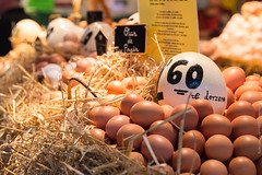 Eggs at Boquería Market (Wholesale of Void) Tags: barcelona city travel autumn light vacation fall price contrast spain october colorful market straw catalonia eggs boquería