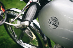 """Norton Villiers"" (Eric Flexyourhead (shoulder injury, slow)) Tags: canada detail english bike vancouver zeiss silver shiny bc tank bokeh britishcolumbia norton motorbike chrome motorcycle british fragment shallowdepthoffield 2016 allbritishfieldmeet vandusenbotanicalgarden abfm 55mmf18 nortonvilliers sonyalphaa7 zeisssonnartfe55mmf18za"