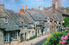 Dorset, England (pefkosmad) Tags: old uk houses england castle netherlands stone buildings pub village hobby puzzle dorset leisure jigsaw playtime corfe charityshop pastime onemissing 1000pieces
