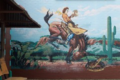 A buckin' good time (dangr.dave) Tags: fortworth tx texas cowtown tarrantcounty panthercity downtown historic architecture mural cowgirl horse bronco cactus cowboy rattlesnake