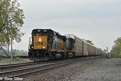 Spongebob leading a rack train. (Machme92) Tags: railroad ohio clouds america nikon action rail american rails autos railfan freight railroads csx conrail railroading emd railfanning railfans