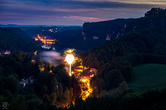 surprised by a BOOM ;) (miyagimovies) Tags: travel sunset party sky sun rot nature colors clouds river germany landscape deutschland lights dresden twilight colorful europe fireworks action hiking wildlife flash saxony natur sunny boom celebration sachsen surprise traveling blau landschaft thunder elbe bastei schsischeschweiz rathen landscapephotography saxonswitzerland pirna
