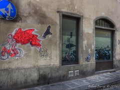 Florence Street Art (Belinda Fewings (3 million views. Thank You)) Tags: street city travel windows urban italy streetart colour building tourism beautiful beauty bike architecture reflections circle out outside outdoors reflecting florence seaside italia grafitti arty artistic bokeh circles creative best depthoffield reflect firenze colourful lovely narrow outrageous beautify panasoniclumixdmc pbwa creativeartphotograhy belindafewings