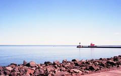 Canal Park Lighthouses (Dusty_Tucker) Tags: film minnesota photography g electro 35 duluth yashica electro35
