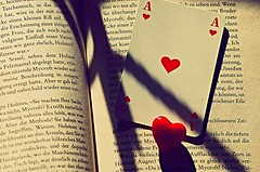"""Please.... Stop this game: Don't play with my heart,  I 'a dangerous "". (natus.) Tags: red game book lightsandshadows redheart brilliant aceofhearts"