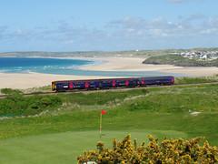 153318 & 150261 Porthkidney Sands (2) (Marky7890) Tags: train cornwall railway gwr sprinter dmu class153 fgw class150 porthkidneysands stivesbayline 153318 150261 2a31