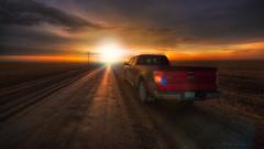 Driving Saskatchewan (IanDMcGregor) Tags: road canada truck sunrise photography dawn nikon f150 dirt saskatchewan gravel ianmcgregor ianmcgregorphotographycom