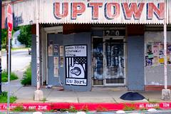 VOte Bort. (-Dons) Tags: door usa streetart umbrella austin texas unitedstates tx wheatpaste uptown stop