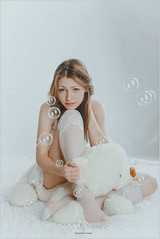 Cute young girl (Yepanchintcev Aleksey) Tags: portrait people white cute feet stockings girl face fetish studio foot high eyes pretty legs sweet young indoor arches lips bubble lovely russian miniskirt footfetish tunic    russiangirl footjob russianbeauty            ateddybear