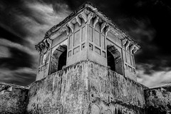 Guard post (Fortunes2011. Closure of 6 years) Tags: longexposure sky blackandwhite bw monochrome architecture clouds mono angle ruin arches structure hdr mehrab hiranminar fortunes2011nikon