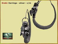 Bliensen - Dreki - earrings silver - (Plurabelle Laszlo of Bliensen + MaiTai) Tags: sl secondlife bliensen dragon dragonhead viking jewelry norse fantasyjewelry roleplay gorean gor medieval antique necklace earrings