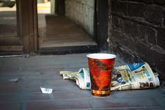 (195/366) Coffee Break (CarusoPhoto) Tags: coffee cup vestibule chicago city urban banal mundane ordinary everyday newspaper bricks street john caruso carusophoto photo day project 365 366 pentax ks2 hdpentaxdal1850mmf456dcwrre hd pentaxda l 1850mm f456 dc wr re