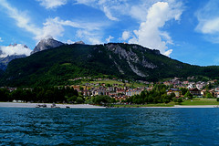 #96 water (fattanal) Tags: city wild italy lake mountains green nature water clouds forest landscape lago town high cloudy hd trentino molveno