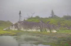 Wilderness Hiding (photo fiddler) Tags: mist canada fog pond july rockface coastal peggyscove 2016