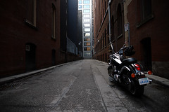 get on your bike and ride (Ian Muttoo) Tags: street toronto ontario canada alley gimp motorcycle ufraw dsc23971edit