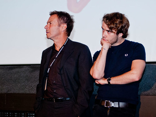 Director Andrew Douglas and actor Jamie Blackley answer questions after the screening of their film uwantme2killhim?