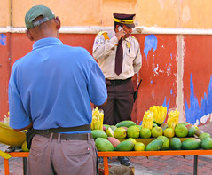 Security Guard at the Fruit Stand (Colorado Sands) Tags: fruit frutas men guard security cellphone communication seller merchant fruitstand males uniform lawenforcement cartagena oldtown southamerica colombia republicofcolombia southamerican suramérica südamerika américadelsur americadelsud américadosul amériquedusud sandraleidholdt bolivar securityofficer guys vendor telephone badge colombians