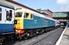 "BR Blue Class 47/4, 47579 ""James Nightall G.C."" & NSE Class 47/4, 47596 ""Aldeburgh Festival"" (37190 ""Dalzell"") Tags: bury spoon duff nse boltonstreet eastlancashirerailway class47 47579 networksoutheast brblue aldeburghfestival 47596 brush4 class474 jamesnightallgc"