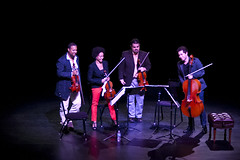 Harlem Quartet (Kelly Strayhorn Theater) Tags: summer people music color advertising pittsburgh unitedstates pennsylvania candid jazz drinks networking socializing eastliberty humans individuals kst kellystrayhorntheater harlemstringquartet eastlibertylive lionessphotgraphy