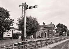 Hadlow Road Station Willaston (Stephen Whittaker) Tags: road old roof 2 two blackandwhite white black building abandoned monochrome station sign sepia architecture train vintage bench blackwhite office nikon track box pov trolley telephone railway ticket monotone grade retro ii advert slate cart signal 1950 listed wirral signalbox bovril enamel willaston hadlow d5100 whitto27