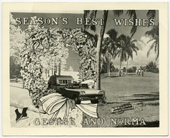 Season's Best Wishes from George and Norma (Alan Mays) Tags: christmas xmas old travel trees winter decorations snow cold men cars ford sports vintage golf cards typography frozen george women ribbons funny holidays warm humorous photos south north humor couples sunny holly ephemera vehicles palmtrees photographs 1950s type trips christmascards greetings autos traveling norma amusing iceskates wreaths fonts vacations bows skates trailers automobiles composites typefaces photomontages foundphotos greetingcards golfclubs golfcourses traveltrailers december25 golfclubbags compositephotographs photographicgreetingcards vptp