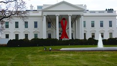World AIDS Day - Red Ribbon on the White House Portico 33928