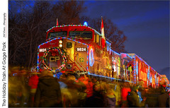 The Holiday Train At Gage Park  (HDR-Hybrid) (jwvraets) Tags: christmas night nikon diesel hamilton gimp locomotive bluehour opensource hdr luminance gagepark holidaytrain nikkor50mmf18d qtpfsgui d7100