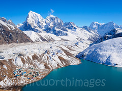Gokyo (whitworth images) Tags: nepal white lake snow mountains cold ice nature water trekking buildings landscape outdoors frozen nationalpark high asia village turquoise altitude scenic peak scene glacier valley himalaya khumbu everest emerald highaltitude lodges glacial gokyo sagarmatha solukhumbu gokyori cholatse taboche sagarmathanationalpark gokyolake ngozumpaglacier guesthouses dudhpokhari ngozumbaglacier tabuche