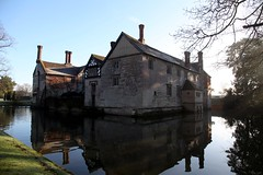 Moat Water (Heaven`s Gate (John)) Tags: blue winter sky sun reflection art history topf25 water stone architecture still clinton january silence moat nationaltrust tranquil emgland lapworth 10faves baddesley 25faves johndalkin heavensgatejohn