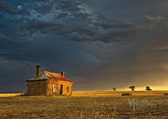 Storm over the ruin (Valley Imagery) Tags: barossa southaustralia australia ruins storm hay bales sunset rural farm history greenoch golden stubble house homestead ruin hour