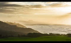 West coast in the mist (Atekaba) Tags: ocean light sea sky cliff sun mer mist mountain seascape france green home grass montagne coast soleil nikon view lumire south sigma wa