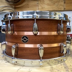 8x14 mahogany with 10 ply maple re-rings. Real copper inlays for an added touch of class. Great little snare drum #qdrumco #snare #drum #coppermakesitlookrich