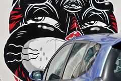 Wall Graffiti   Fremantle, Western Australia (Ping Timeout) Tags: red vacation holiday black color colour art public car wall cat honda graffiti interesting eyes paint drawing oz under jazz australia down visit perth western wa draw carpark fremantle freo