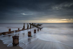 Rush (Draws_With_Light) Tags: winter sea water sunrise season landscape seaside structures places scene slowshutter coastline filters groynes spurnhead lee09ndhardgrad leelittlestopper