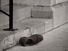 At St. Mary's Doorstep (Elmore Dodge) Tags: street church st sepia shoe downtown sidewalk step marys toned doorstep