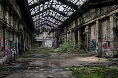 Big Hall (Chris Cologne Photography) Tags: door old roof industry colors photoshop germany lost deutschland graffiti hall big factory colours place sony fabrik ruin cologne köln ruine adobe elements industrie tür wrecked cameraraw lostplace alpha37
